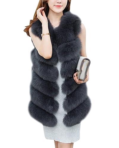 Mujer Chaleco De Pelo Sintetico Faux Parkas Sin Mangas Abrigos Elegante Chaquetones