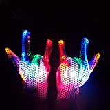 Party Lovers Multi Color Led Light Up Flashing Sequin Costume Gloves for Haloween or Dance Dress Up(1 Pair)
