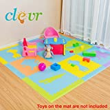 Clevr XLarge 1/2'' Thick Safari Animal Interlocking EVA Foam Kids Baby Play Floor Mats, 78'' X 78'', 41 Sqft, 9 pcs 2' X2', Extra Wide sloped Borders, Non Toxic, BPA Free, Thick and Ultra Soft