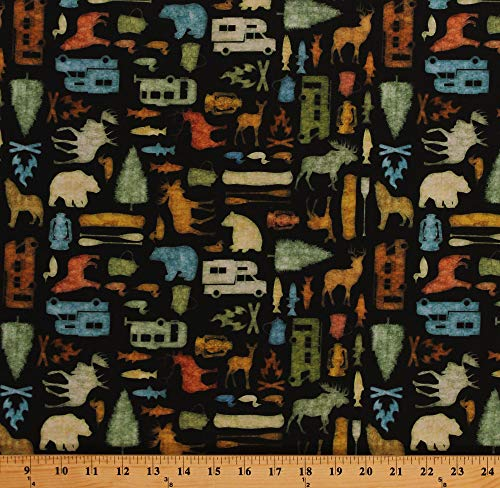 Canoe Bears Northwood (Cotton Campers Moose Wolves Bears Canoes Ducks Silhouettes on Black Camping Northwoods Back Country Cotton Fabric Print by The Yard (D766.58))