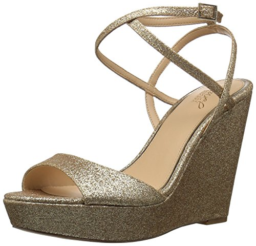 Badgley Mischka Jewel Women's Ambrosia Wedge Sandal, Gold, 9.5 Medium (Ambrosia Fabric)