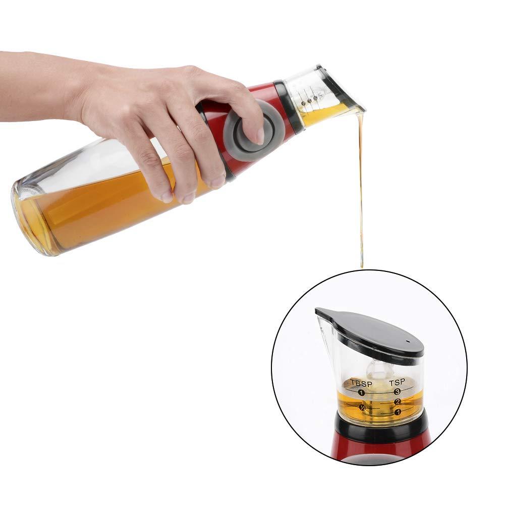 Oil Dispenser Bottle Oil and Vinegar Glass Dispenser with Measuring Oil Pourer for Kitchen 17 Oz / 500ML