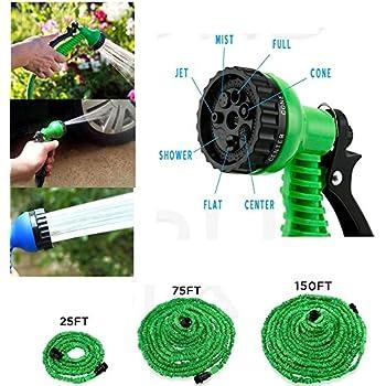 Vanki 25 75 150 Feet Expandable Flexible Garden Water Hose W/ Spray Nozzle  150FT Green