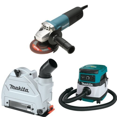 Makita 9564CV 4-1/2-Inch SJS High-Power Angle Grinder, 196846-1 Dust Extraction Tuck Point Guard, XCV04Z 18V X2 LXT (36V) 2.1 Gallon HEPA Filter Dry Dust Extractor/Vacuum