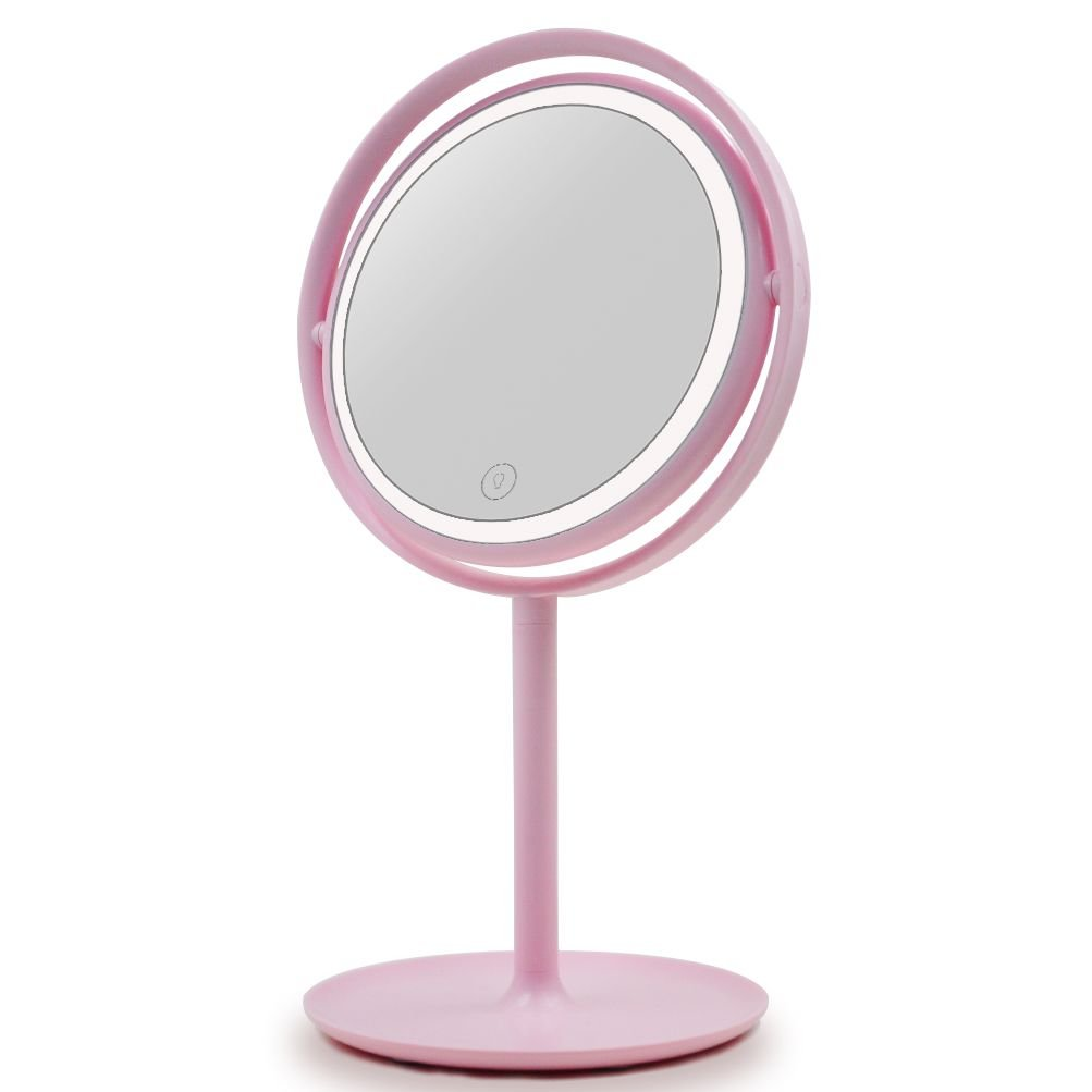UPHAN U7 Surgical Grade Lighted Makeup Mirrors, 7 inch Pink Vanity Mirror Luxury Dimming Light (Studio Grade)
