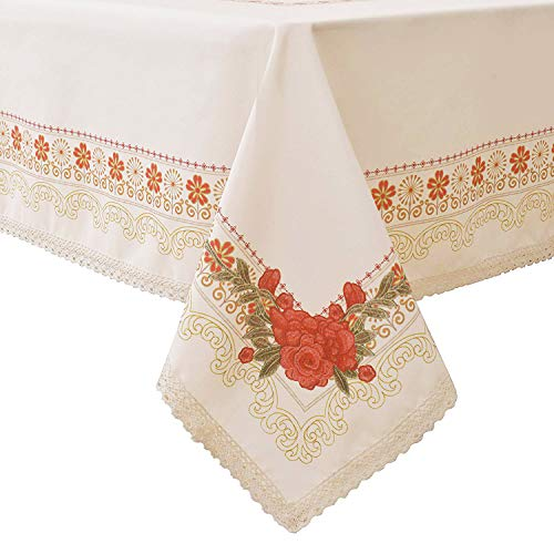 (Wewoch Decorative Red Floral Print Polyester Table Cloth Stain Resistant and Spillproof Rectangle Tablecloth for Dinning Room 60 Inch by 120 Inch (Milk Yellow))