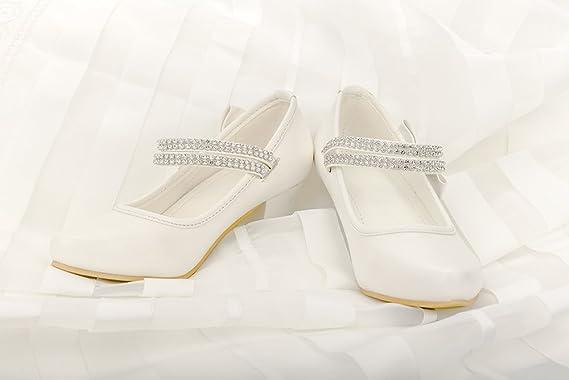 3559e1134fe Amazon.com  First Communion Girls Dress Shoes Sparkly Mary Jane Rhinestones  Strap Heels Pump Toddler Little Big Kids  Clothing