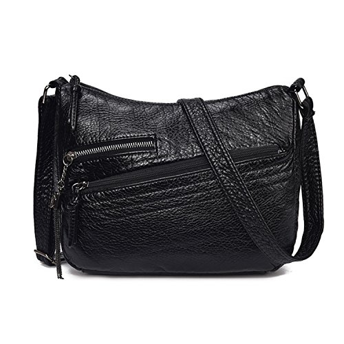 Leo Lamb 2018 Women Shoulder Bags Soft Pu Leather Female Handbags Hobo Ladies Tote Zipper Messenger Bag Bolsas Black 21X21X10Cm