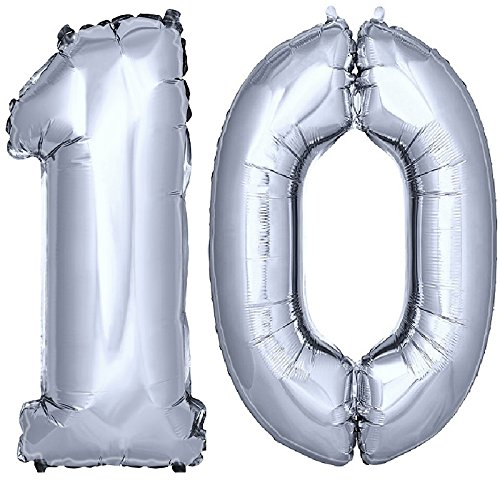 DekoRex® Foil Balloons 40'' 100cm Numbers for Birthday Party Anniversary for Helium or Air Filling Silver No. 10 - 10 Balloons