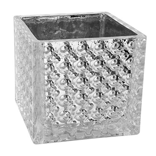 (Royal Imports Flower Glass Vase Decorative Centerpiece for Home or Wedding Elegant Dimple Effect Cube, 5