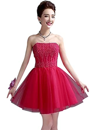 Drasawee Womens Short Tulle Beaded Evening Dress Strapless Bridesmaid Homecoming Prom Party Dress Rosy Red UK18