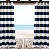 Ln 2 Piece Navy Striped Gazebo Curtain Panel 84 Inch, White Rugby Striped Outdoor Curtain Waterproof For Patio Porch, Light Block Indoor/outdoor Drape Pergola Garden Sunroom Grommet, Polyester