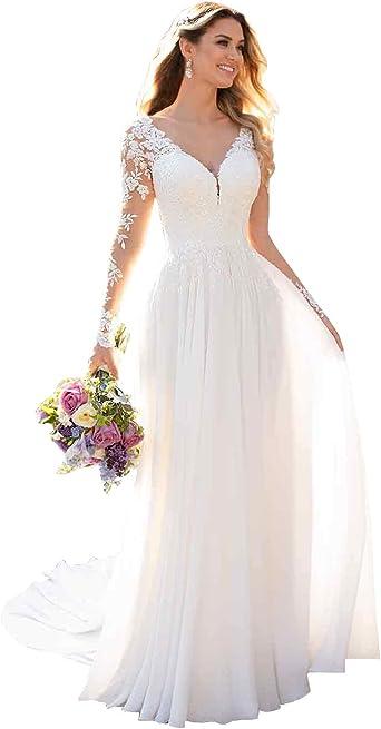 Wdbridal Women S Lace Wedding Dress For Bride Illusion Long Sleeve