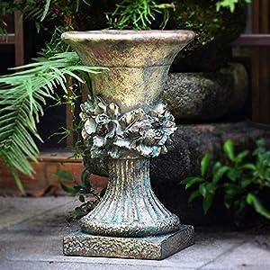 Roman Cast Stone Ornate Rose Decor High Urn Planter Flower Plant Pot Vase Garden Deco Greek Figurine