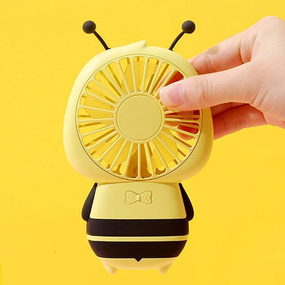 Portable Mini Handheld Charging USB Mute for Home Office Table Color : Yellow, Size : One Size Jajx-comac USB Personal Desk Fan Bee Ultra-Thin Pocket Fan with Led Night Light