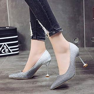 ZHZNVX Zapatos de Mujer PU (Poliuretano) Fall Basic Pump Tacones Stiletto Heel Pointed Toe Black/Purple/Silver
