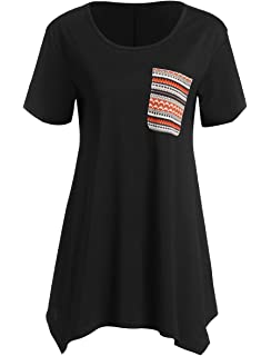 ae6f68eede6a Romwe Women's Casual Round Neck Short Sleeve Loose Flare Tunic Blouse Top