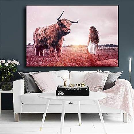 Geiqianjiumai Vaca Animal Lienzo Pintura niña Cara Miedo a la ...