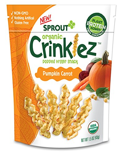 Sprout Organic Baby Food, Sprout Organic Crinklez Toddler Snack, Pumpkin Carrot, 1.5 Ounce Bag (Pack of 1), Plant Powered, Popped Veggie Snack, Gluten Free, USDA Certified Organic, Nothing Artificial