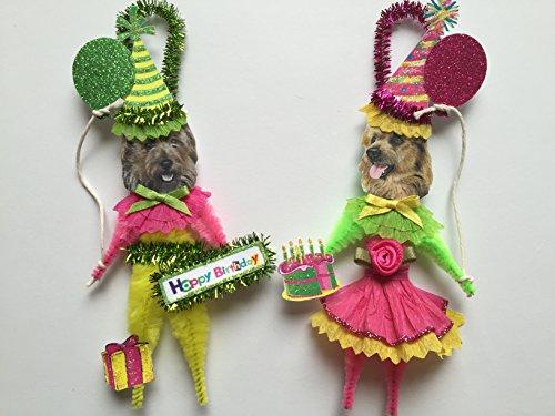 - Australian Terrier BIRTHDAY ORNAMENTS Vintage Style Chenille Ornaments Set of 2