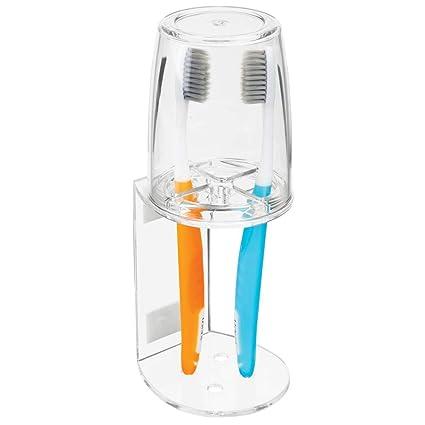 mDesign Vaso para cepillo de dientes – Portacepillos de calidad con tapa para el baño –