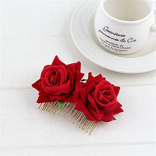 1Pcs Brides Hair Plate Casual Hair Accessories For Wedding Party Ornament QP (Color - Red)]()