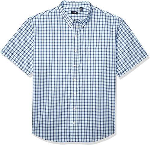 Arrow 1851 Men's Big and Tall Hamilton Poplins Short Sleeve Button Down Plaid Shirt, Aqua Splash 1, 3X-Large