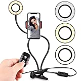 Selfie Ring Light Cell Phone Holder Stand Live Stream & Makeup Including Selfie Remote Shutter, UBeesize LED Camera Light Flexible Long Arms, Compatible Android Phone iPhone