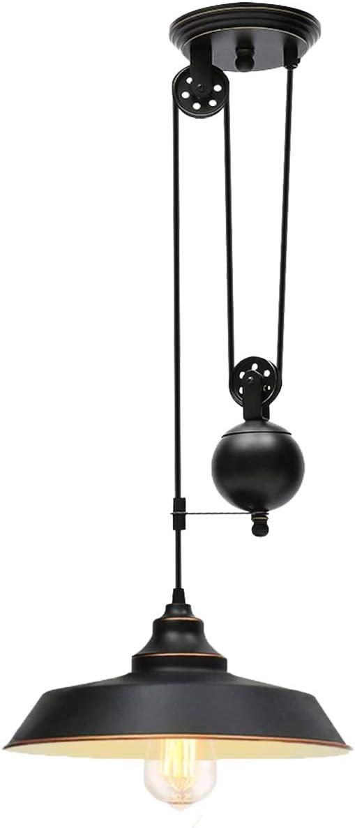 Ganeed Pully Pendant Light,Adjustable Height Industrial Pulley Lighting,Rustic Ceiling Hanging Light Edison Island Lamp for Farmhouse Dinner Room Kitchen Hallway,Black,E26 Bulb Socket