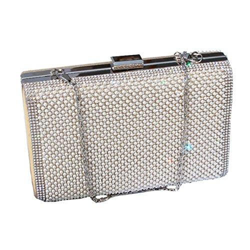 Para Mujer Tachonado Cristal Bolso De Tarde Del Embrague Diseño Bolsa De Diamantes De Imitación Gold