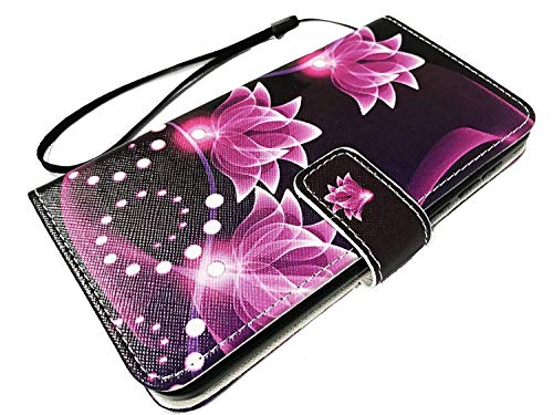 Wallet Pouch Card Holder Protective Case Phone Cover for Coolpad Illumina 3310A + Gift Stand (Purple Lotus) ()