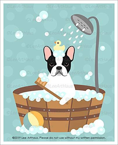 770D - Pied French Bulldog in Bubble Bath Bathtub UNFRAMED Wall Art Print by Lee ArtHaus ()