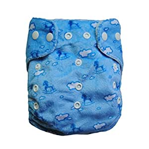 Alva One Size Washable Reusable Bamboo Minky Cloth Diaper (Blue Horse) with One Bamboo Insert Ba19