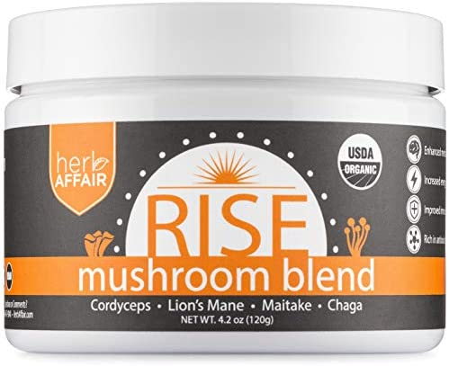 Mushroom Powder Supplement – Organic Full Spectrum Medicinal Mushroom Complex – Lions Mane, Chaga, Cordyceps and Maitake Shrooms – Mix in Coffee or Smoothie – Helps Focus, Energy and Immune System