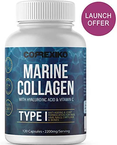 CORREXIKO Marine Collagen Pills, High Strength 2200mg Anti-Ageing Tablets (Canadian Wild-Caught Fish, not farmed) Hyaluronic Acid, VIT C & Minerals, for Skin Hair Nails Bones & Joints – Women & Men