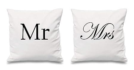 Cuscini Mr E Mrs.Mr And Mrs White Copricuscini 40 6 X 40 6 Cm Coppie Cuscini San