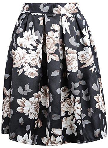 Sheinside® Women's Black Floral Midi Skirt (One Size, Black)