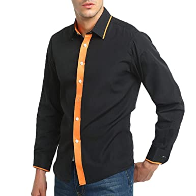 7756016245d8c Lolittas Black Shirt Mens Slim Fit Top Polo Long Sleeve Cheap Casual Work  Plain Cuffed V Neck Tunic Button Cotton UK Sale Pullover Blouse XXL   Amazon.co.uk  ...