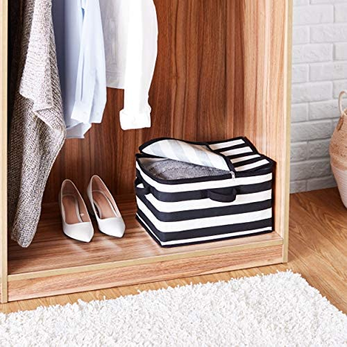 AmazonFundamentals Canvas Zippered Storage Bag - Stripes, 2-Pack