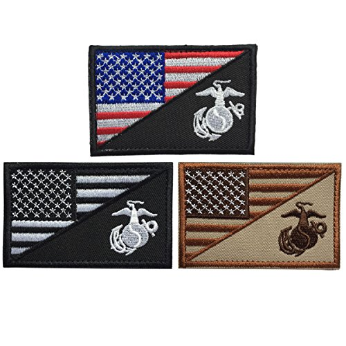 - SpaceCar USA American Flag w/Marine Corps USMC Military Tactical Morale Badge Patches 3