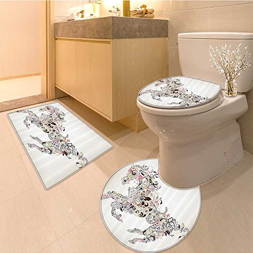 3 Piece large Contour Mat setHorseshoe Golden Horseshoe with Diamonds Luxury Treasure Jewelry Crysta Design Fabric Bathroom Rugs Contour Mat Lid Toilet Cover (Jewelry Large Horseshoe)