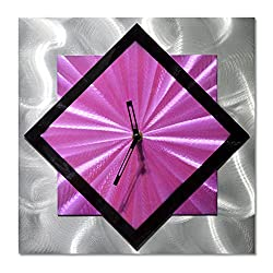 Diagonal Clock Wall Decor - Purple Functioning Clock is the Perfect Outdoor Decoration - Abstract Modern Art of 12 x 12