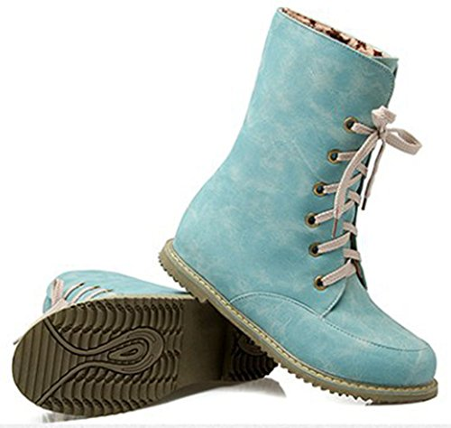 Ankle Up Women's Flat High Suede Faux Blue Heel Booties Easemax Lace Toe Elegant Round RxSS0wvq