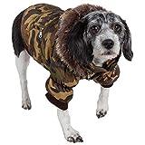 PET LIFE Classic Metallic Fashion Pet Dog Coat Jacket Parka w/ 3M Insulation and Removable Hood, Medium, Camouflage