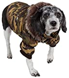 PET LIFE Classic Metallic Fashion Pet Dog Coat Jacket Parka w/ 3M Insulation and Removable Hood, Medium, Camouflage