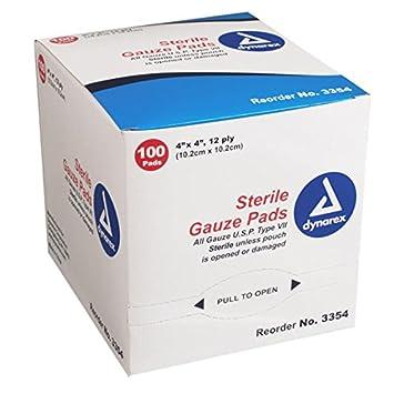 amazon com gauze pad sterile 4x4 3354 100bx dynarex corp health