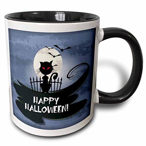 3dRose Dooni Designs Halloween Designs - Happy Halloween Greeting Spooky Black Cat Full Moon and Bats Eerie Night Design - 15oz Two-Tone Black Mug (mug_150147_9) -