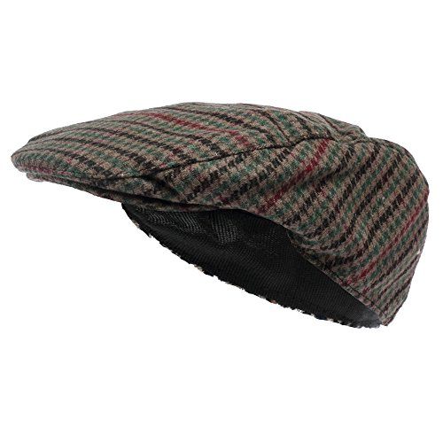 Octave Mens Wool Mix Tweed Country Style Flat Cap, Size 58CM M/L, Green - 58 Hat Size