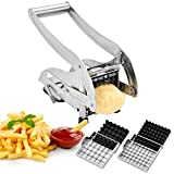 vegetable cutters stainless steel - CUGLB Stainless Steel French Fry Cutter Potato Chipper with 2 Interchangeable Blades and Suction Base for Vegetables Like Potato Cucumber Carrot Home Kitchen Tool