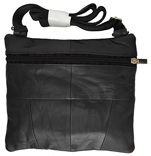 Roma Leathers Black Leather Mini Crossbody Shoulder Bag